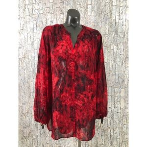 Faded glory plus size 3X Rose Print Top Sheer